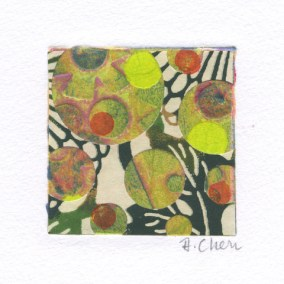 "Diane Cherr, Lush 14, Collagraph Monoprint, matted, 2""x2"", $125"