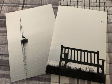 "Amy Nathan, Greeting cards: Sailboat, Manor Park bench, 5""x7"", $6 each"