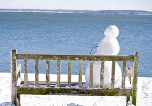 "Amy Nathan, Solitude: Snowman on bench, Photo print, 4""x6"", $65"