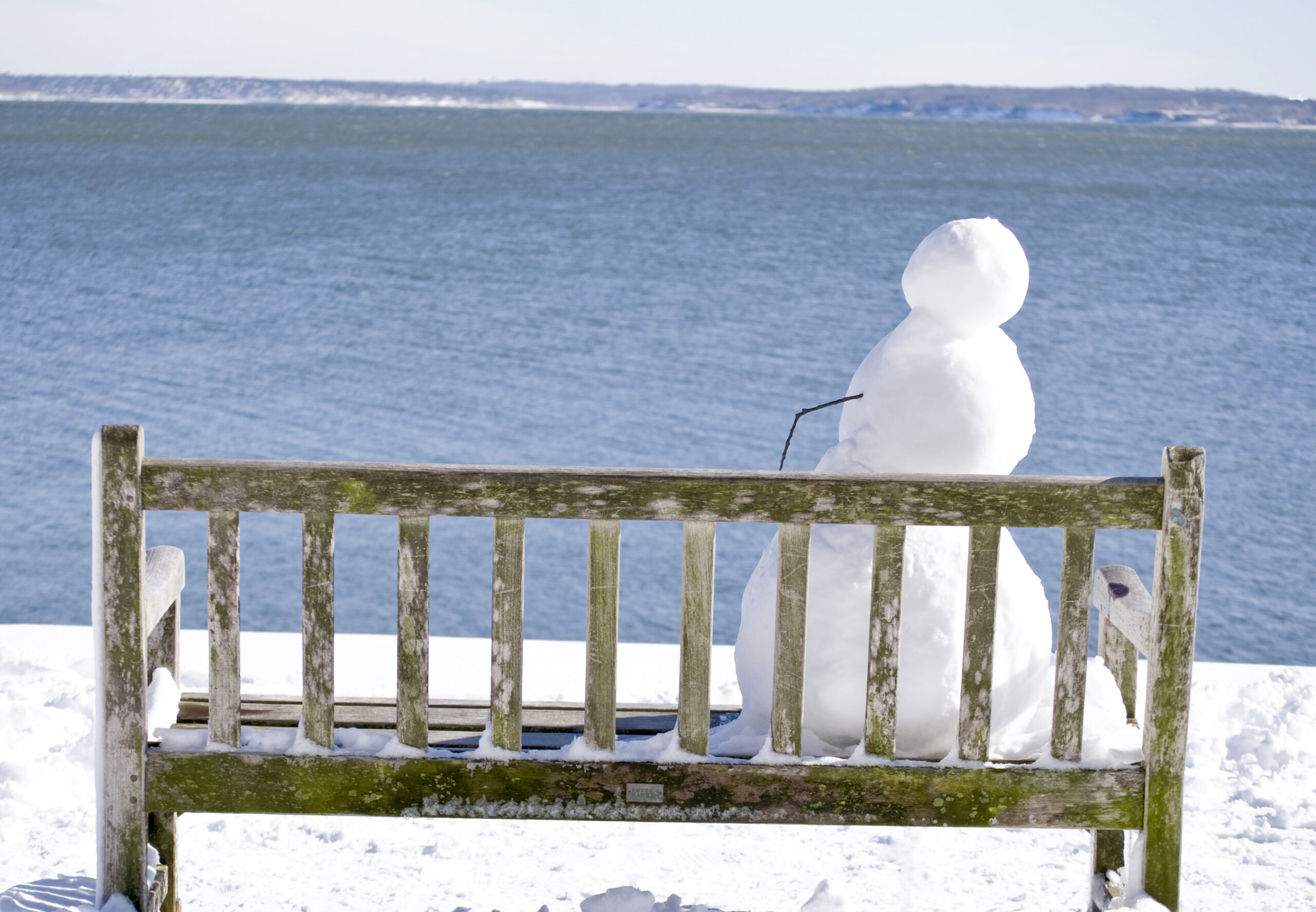 "Amy Nathan, Solitude: Snowman on bench, Photo print, 4""x6"", $65"