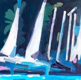 "Marion Schneider, Sailing school, Acrylic, 12""x12"", $600"