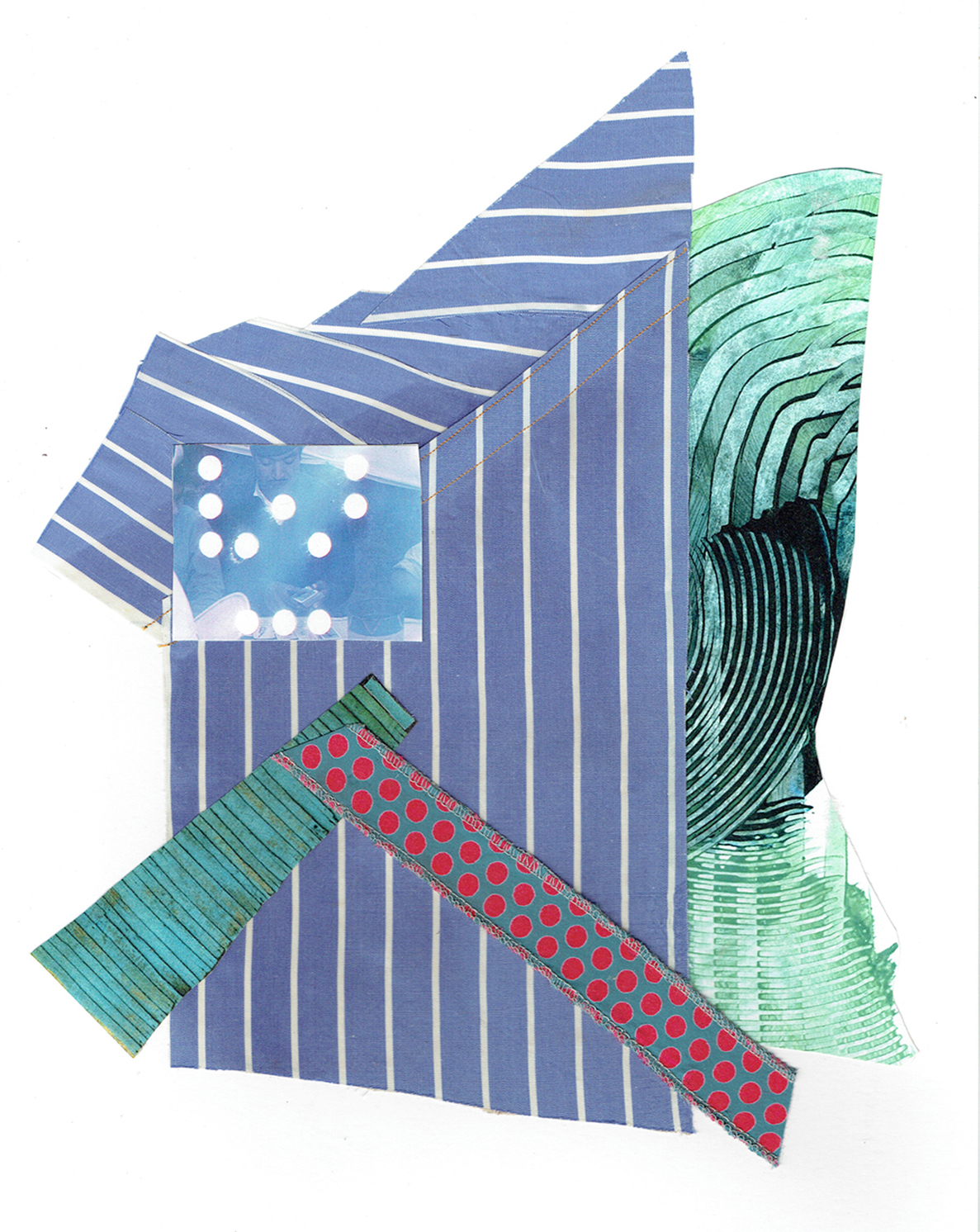 """Chris Timmons, Blue State 3, Mixed-Media Collage, 11""""x14"""", $600"""