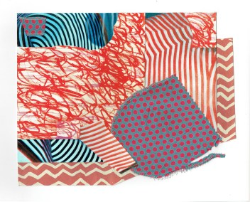 """Chris Timmons, Red State 1, Mixed-Media Collage, 11""""x14"""", $600"""