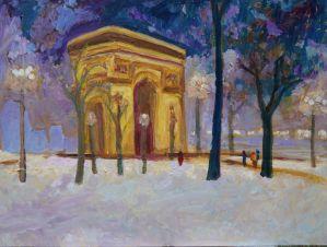 "Don Sexton, Arc de Triomphe in Snow, Oil on canvas, 18""x24"", $2,100"