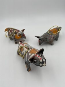"Robin Henschel, Animal ornaments, Stoneware clay, 4""x2""x3"", $28 each"