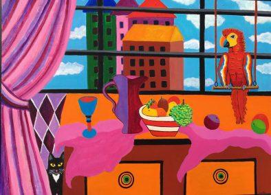 "Dorothy Cancellieri, Still Life w/Parrot & Cat, Acrylic, 31""x41"",$750"