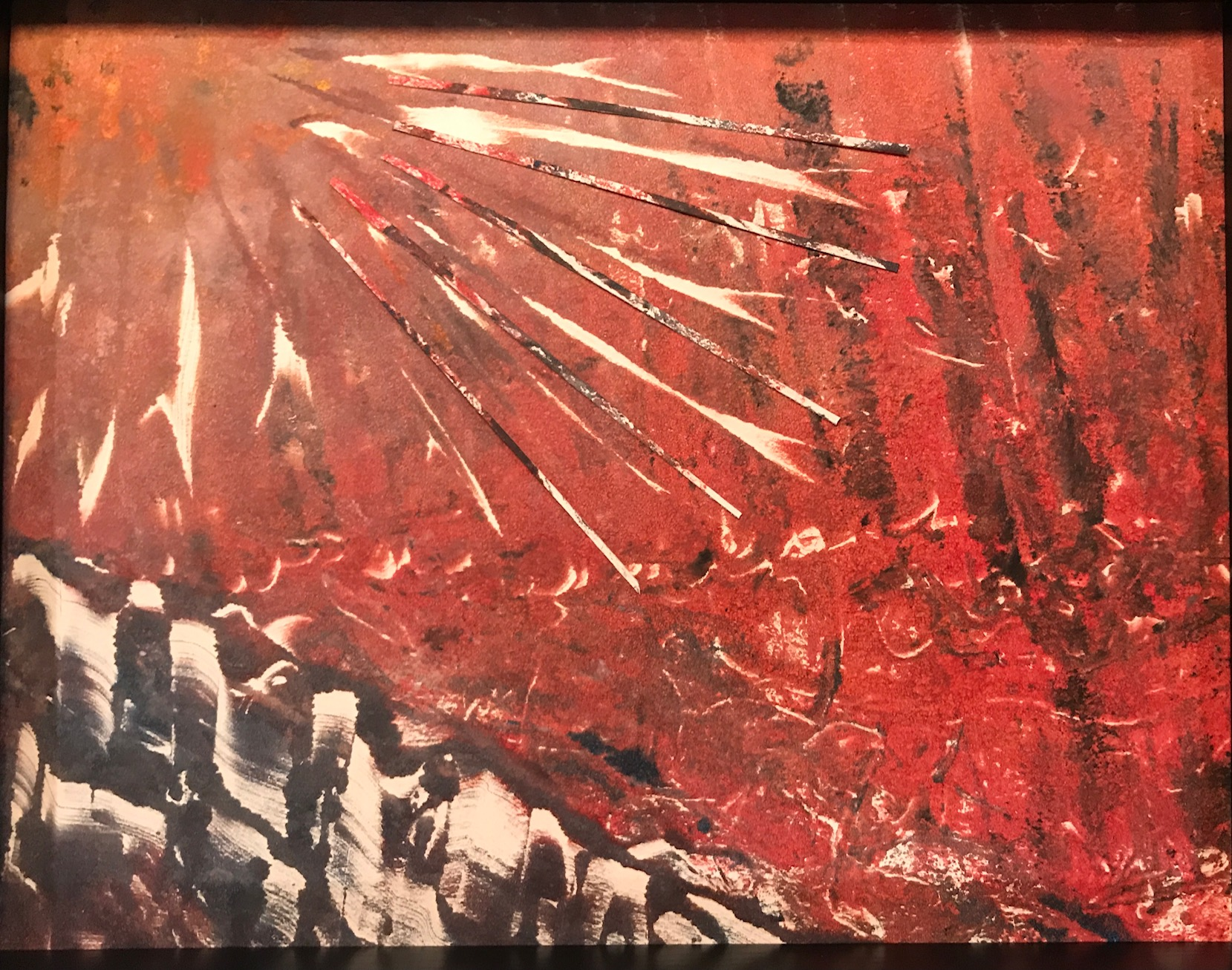 "Jacqueline Lorieo, Fire Rays, Monoprint/collage, 12""x14"", $300"