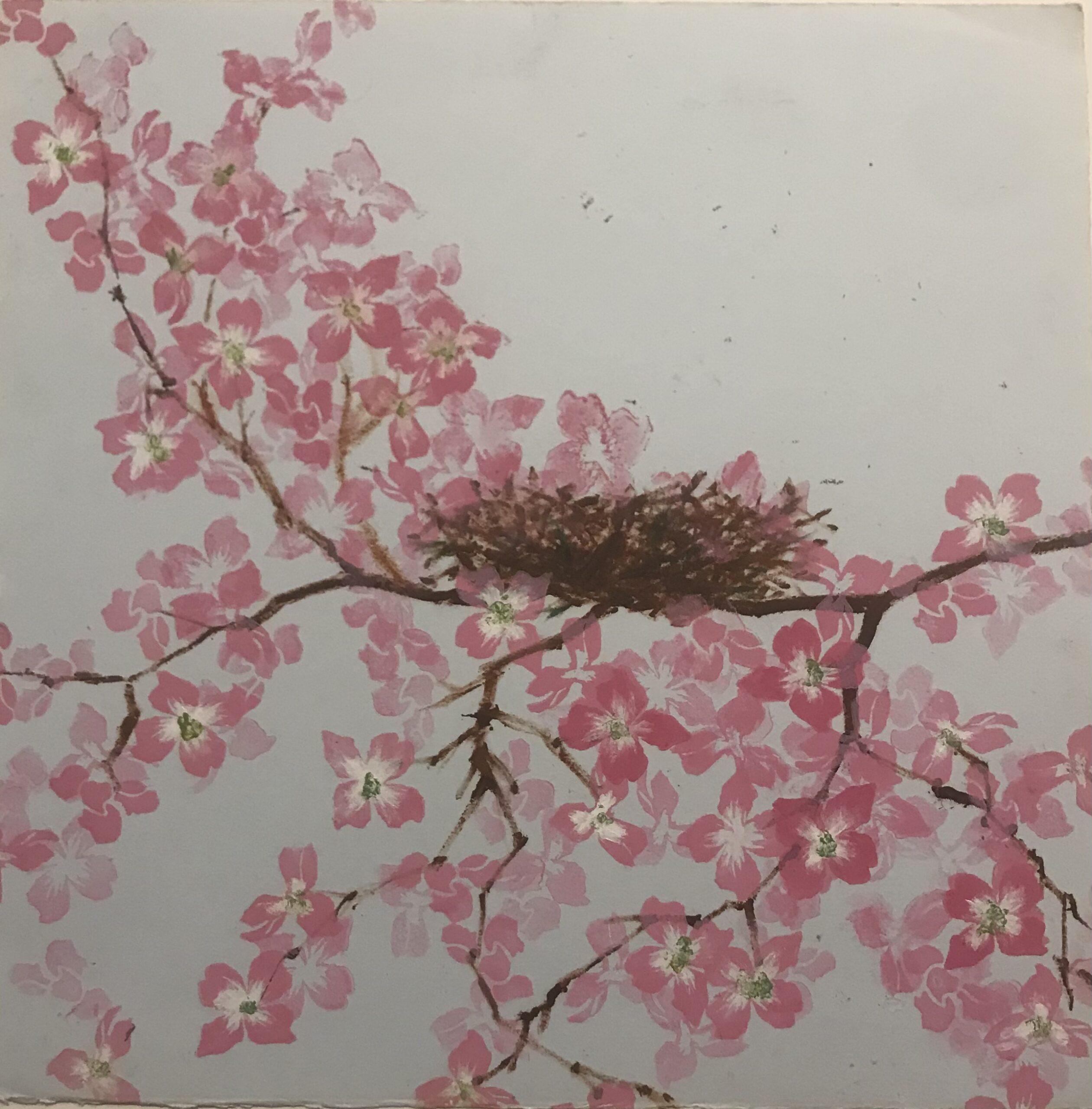 """Sheila Fane, New Spring. Nest, Monotype, 11""""x11"""" (16""""x16"""" framed), $400"""
