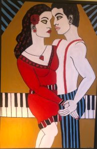 "Dorothy Cancellieri, Dancing Couple with Piano, Acrylic, 25.5""x37.5"", $900"