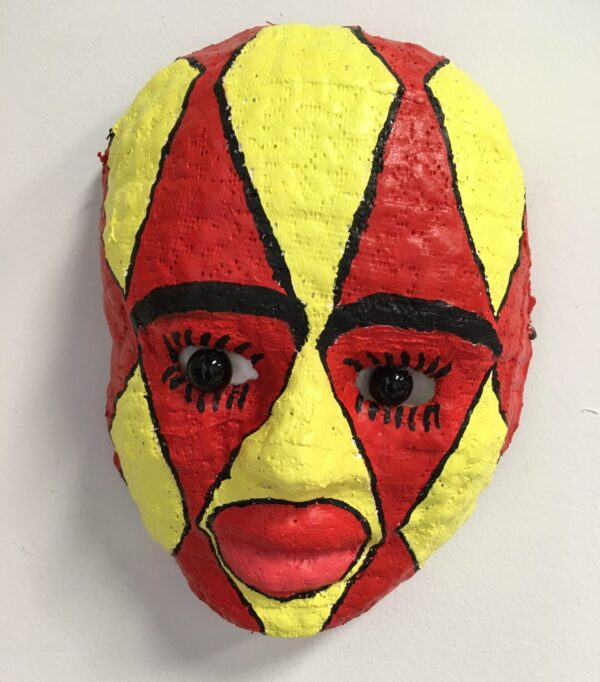 "Dorothy Cancellieri, Red & Yellow Harlequin Mask, Plaster & Acrylic, 7""x9"", $400"