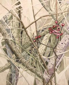 "Lorie Gurian, Berries and Vines, Watercolor, 19""x25"", $450"