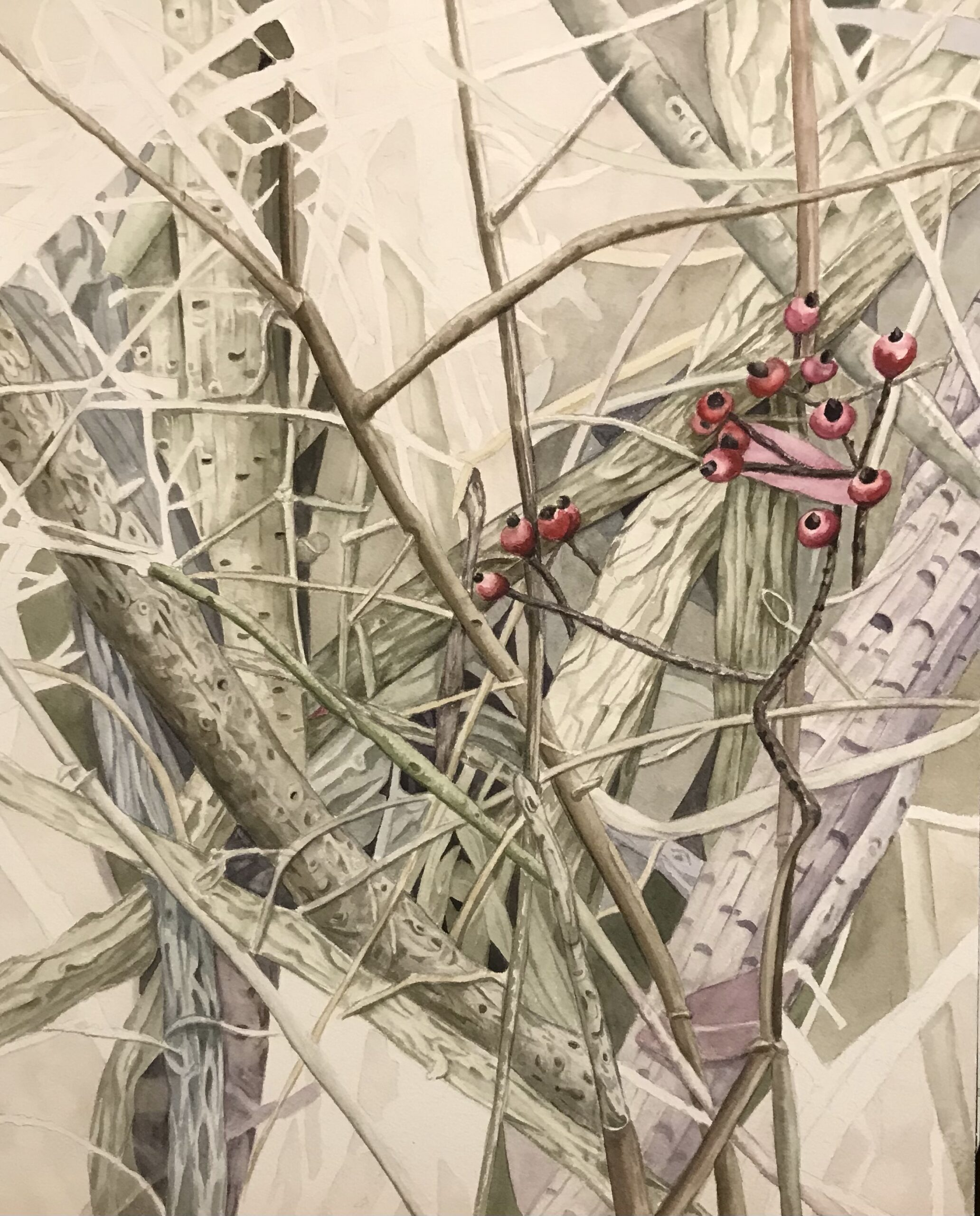 "Lorie Gurian, Berries and Vines, Watercolor, 19""x25"", $450"