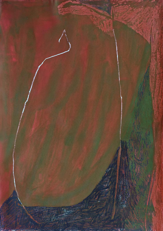 "Kathleen Benton, Venice 13, Wax, dye, crayon on paper, 39""x27.5"", $750"