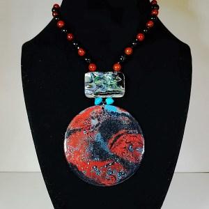 "Leslie Hardie, Painted Necklace with Gemstones, Wood, acrylic, turquoise, abalone, onyx, and carnelian, 19"" length, $250"