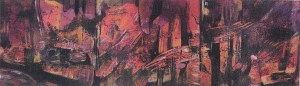 "Mitchell Visoky, Red Forest, Monotype, color pencil, 12""x26"" framed, $600"