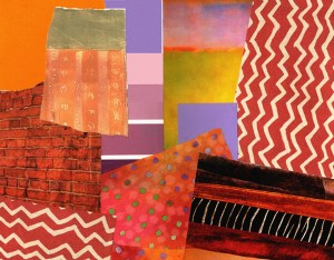"Chris Timmons, Red Wall, Mixed media, 14""x11"", $350"