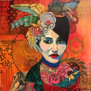 "Katie Winterstein Goldberg, The Spanish Girl, Acrylic and collage, 24""x24"", $500"