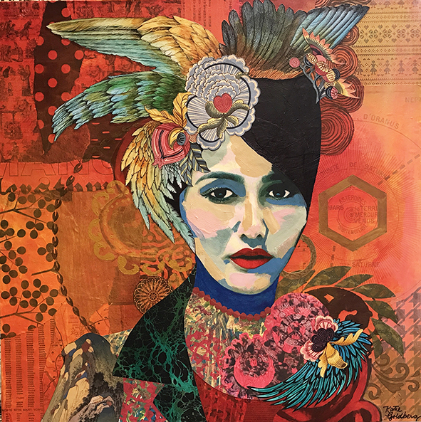"Katie Winterstein Goldberg, The Spanish Girl, Acrylic and collage, 24""x24"", $500"
