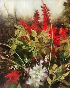 "Virginia Zelman, Summer Salvia, Oil on board, 11""x14"", $600"
