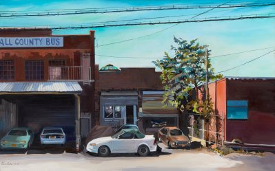 """Julia Eisen-Lester, All County Bus, Oil on Canvas, 30""""x48"""", $3,500"""