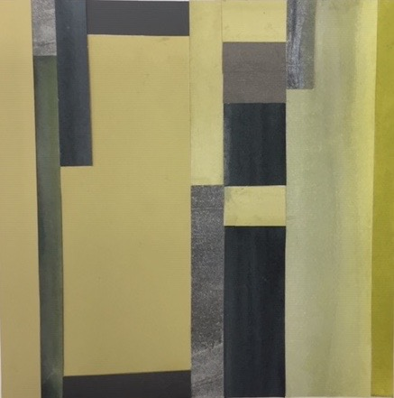 """Mitchell VIsoky, Green Paths, Paper Collage, 9""""x9"""" (matted 14""""x14""""), $400"""