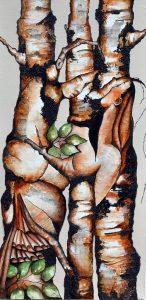"""Lisette Overweel, Hidden: Embrace, Acrylics, 15""""x30"""", $600"""