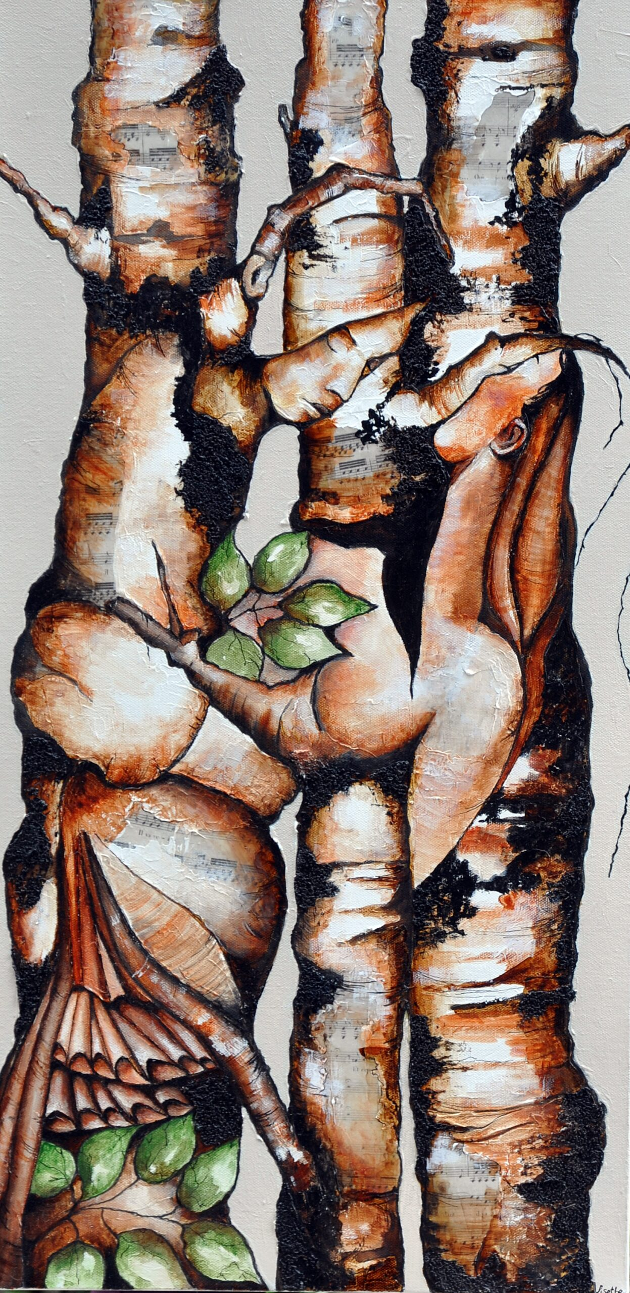 """Lisette Overweel, Hidden: Embrace, Acrylics, 15""""x30"""""""