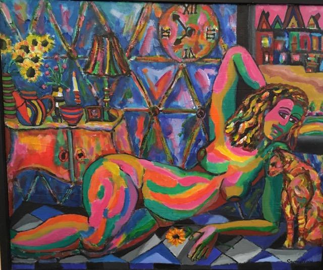 "Dorothy Cancellieri, Reclining Nude, Acrylic, 18""x24"", $650"