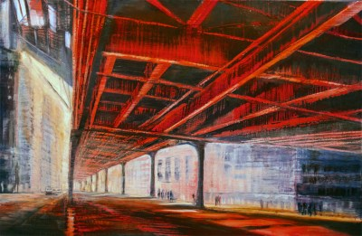 "Jane Black, Under the Tracks, Oil on linen, 24""x36"", $1,200"