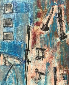 "Vicki Wojcik, Stems, Printed papers and oil pastel on board 10""x8""x3/4"", $200"