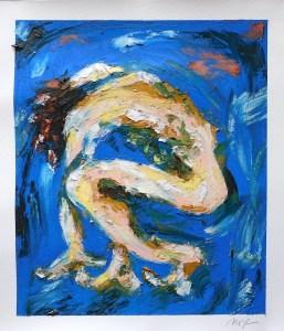 """Maria Teresa Ortiz-Naretto, Body Study #159, Oil on paper, 14""""x12"""", $120"""