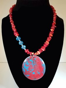 """Leslie Hardie, Coral and crystal necklace with painted wood pendant 20"""", $150"""