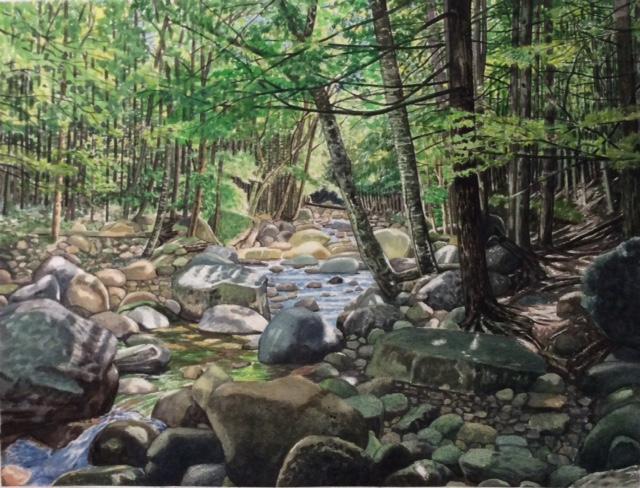 "Jim Maciel, A Maine Stream, Watercolor, 24""x30"", $250"