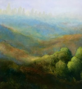 "Virginia Zelman, LA Skyline, Oil, 24""x24"", $2,000"