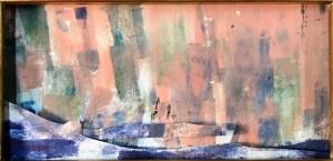 """Jacqueline Lorieo, Urban Harbor, Monotype collage, 10""""x8"""", $300"""