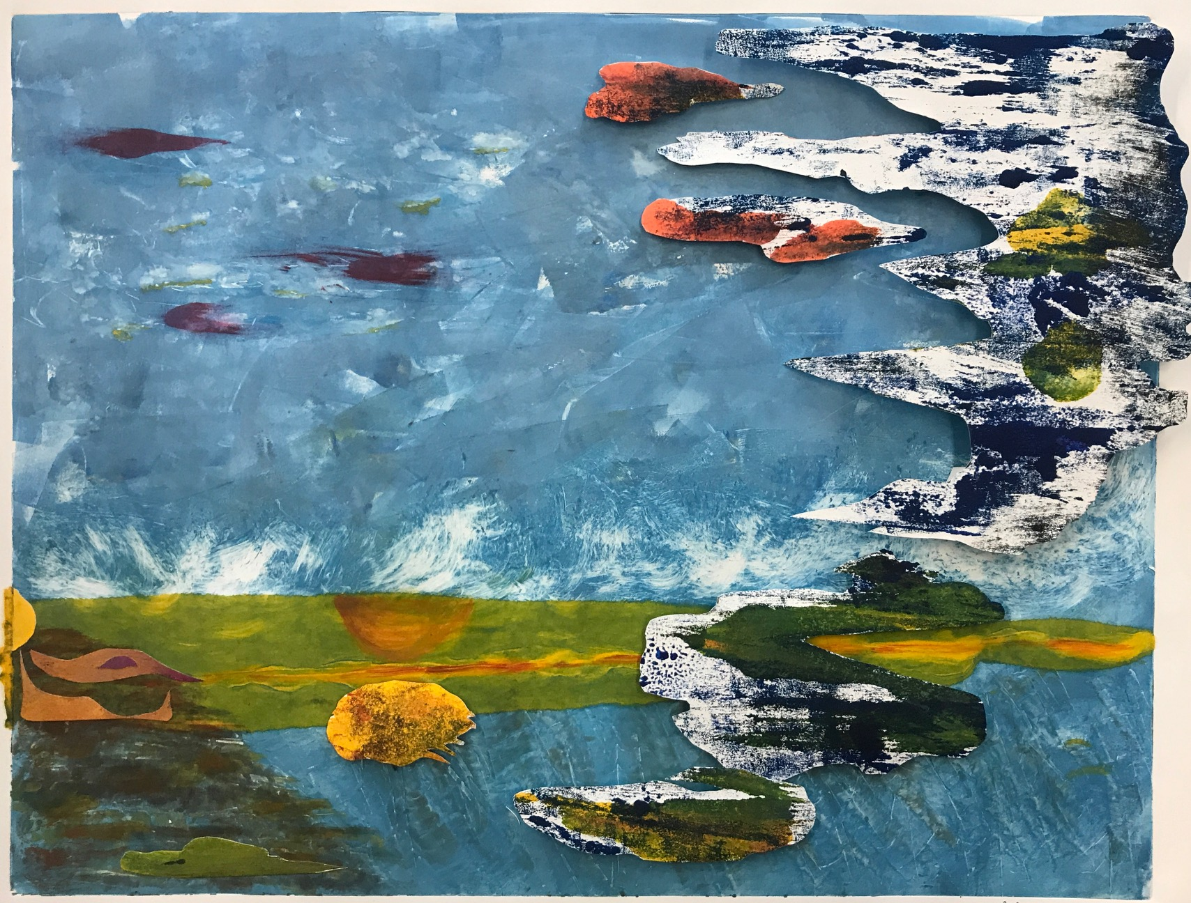 """Jacqueline Lorieo, Secluded Harbor, 3-D monotype, 24""""x18"""",$600"""