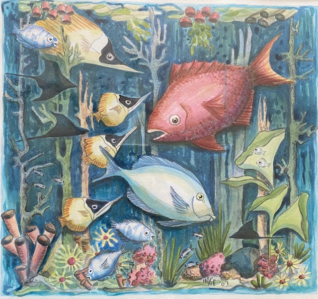 "Inge Pape Trampler, Sea Life #2, Acrylic, 17""x17"", $500"