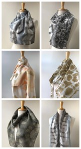 """Elena Rosenberg, Hand-dyed with Natural Dyes 100% Silk Scarves (Textile Art) 8""""x70"""", $45 each"""