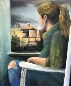 """Sherri Paul, Waiting, Oil on linen, 23""""x19"""", $850"""