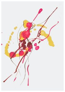"""Shreya Mehta, Flowing Fluid 4, Alcohol Ink on cold pressed arches paper, 10""""x8""""x1"""", $350-HONORABLE MENTION"""