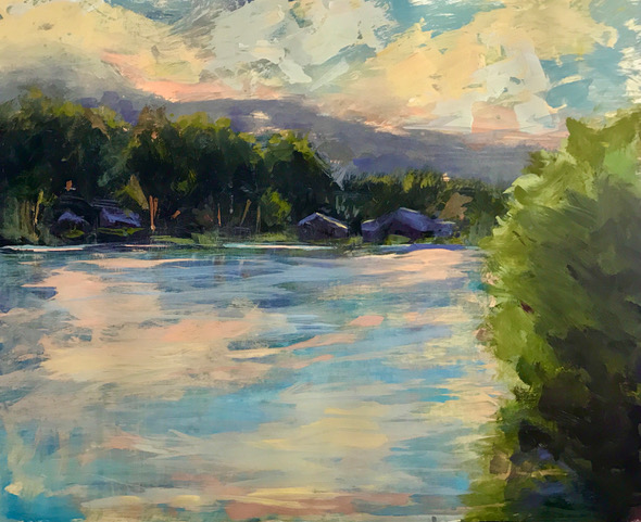 "Denise Petit, Summer Light at the Lake, Acrylic on paper, 16""x20"", $400"