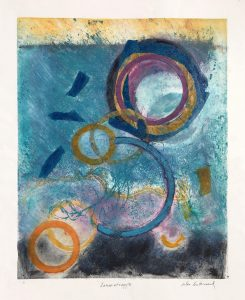"""Helen Pasternack, Inner Struggle, Monotype with collage, 24""""x36"""", $500"""
