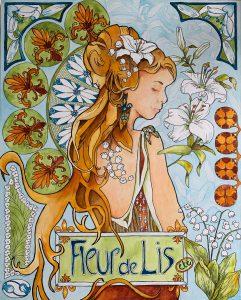 """Lisette Overweel, Fleur de Lis (Art Nouveau), Acrylic/ink on panel, 16""""x20"""", $1,200"""