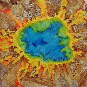 """Lisette Overweel, Yellow Stone Grand Prismatic, Mixed acrylics, 30""""x30"""", $1,500"""