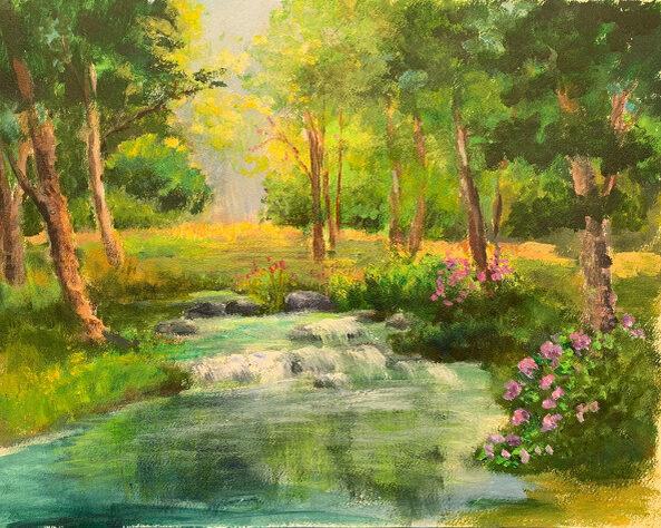 "Naomi Shriber, Small Waterfall, Acrylic on paper, 16""x20"", $500"