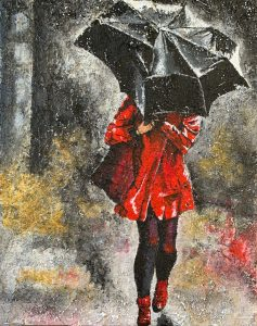 """Walking in the Rain, Acrylic, 16""""x20"""""""