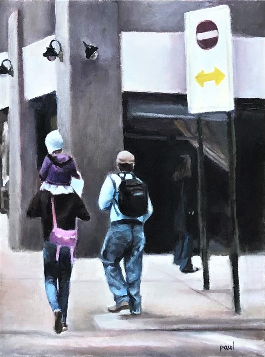 "Sherri Paul, City Stroll, Oil, 16""x12"", $400"