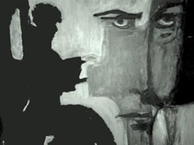 """Joan Lengel, Glenn Gould And Bach, Acrylic, 18""""x24"""", $650"""