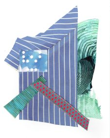 """Chris Timmons, Blue State 3, Mixed-media collage, 18""""x13"""" unframed, $350"""