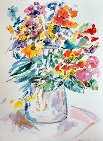 "Riva Kaplan, Full glass, Watercolor, 12""x16"", $225"